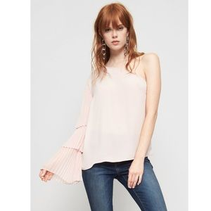 Soft Pink Tiered One-Shoulder Pleated Top
